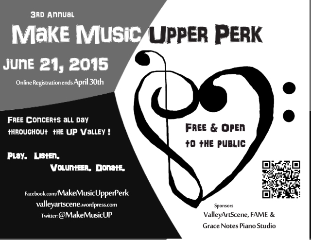 Make Music Upper Perk postcard 2015 for HS program